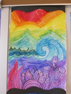 Love it! Space and color. from The Clever Feather: 5th Grade Colorful Landscapes
