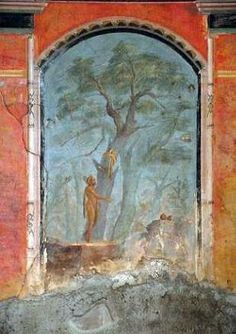 Caldarium (hot bath) of Villa di Poppaea in Oplontis that was buried by the eruption of Mount Vesuvius in 79 AD. - fresco of Hercules in the Garden of the Hesperides