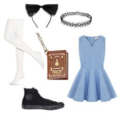 """""""modern alice costume"""" by havenwest on Polyvore featuring Converse, Hue, Maison Michel, Disney and modern"""