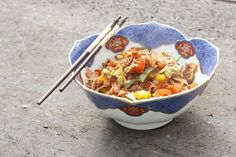 Currypfanne mit rotem Reis