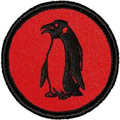 "Retro Penguin Patrol Patch - 2"" Diameter Round Embroidered Patch"