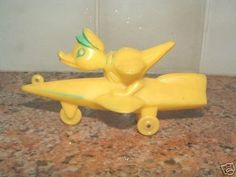 Vintage Hard Plastic Easter Duck Rocket Candy Container   #37348062