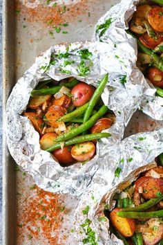 20 Foil Packet Dinners Perfect for Fall: Sausage, Potato, and Green Bean Foil Packs