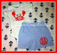 Baby Boy's Personalized crab 2 pc short set by ChickenCoopBoutique