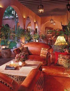 Hacienda Style Courtyard (Casa de Flores on Vista Parkway) (Favorite Spaces Outdoor Living) Hacienda Style Homes, Spanish Style Homes, Spanish House, Spanish Colonial, Spanish Revival, Spanish Hacienda Homes, Mexican Style Homes, Spanish Haciendas, Spanish Kitchen