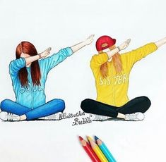 Dab with your friends (Best Friend Wallpaper) - - Bff Pictures Best Friend Sketches, Friends Sketch, Best Friend Drawings, Drawing Of Best Friends, Tumblr Drawings, Girly Drawings, Art Drawings Sketches, Cool Drawings, Kawaii Drawings