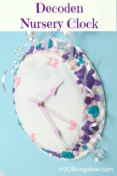 Decoden Nursery Clock - Super easy and fun new craft style!  #plaidcrafts #modpodge www.H2OBungalow.com