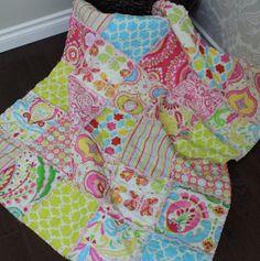 Rag Quilt Baby Girl Quilt Kumari Garden Ready To by RozonsRags, $75.00