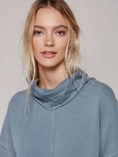 FP Marley Girl Pullover Knit Turtleneck Tunic (Blue Metal)