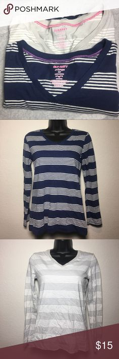 🌷Old Navy Long Sleeve V Neck Striped Shirts ☄️Brand New ☄️. 100% Cotton   Set of Two Old Navy Stripe V- Neck Long Sleeve Shirts  X-Large (14) in kids.  X-Small for adults. Old Navy Shirts & Tops Tees - Long Sleeve