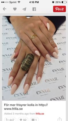 Creme oval nails