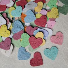 Wedding Shower Favors - 200 Herb Seed Plantable Paper Hearts  (Basil, Chives, Dill, Parsley, Oregano, Lavender) $38.00