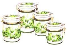 FROG Latching AIRTIGHT 4 Canisters Set 3-D *NEW!!* by KMC/KK-Frog. $64.35. Perfect for ANY frog collector!. Use to store cookies, crackers, noodles, flour, sugar, candy...whatever you want!. Excellent attention to detail and such vibrant colors!. Great as a gift!. Create a personal and elegant touch to your kitchen!. Take a look at this BEAUTIFUL Set of BRAND NEW Frog AIRTIGHT Canister Set of four. This is definately a very elegant set that would make a great addition to... Kitchen Canisters, Kitchen Storage, New Kitchen, Kitchen Dining, Cute Frogs, Frog And Toad, Canister Sets, Vintage Ceramic, Home Kitchens