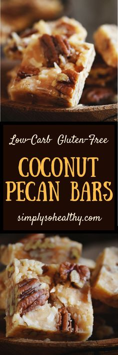 This Low-Carb Coconut Pecan Snack Bar Recipe delivers a delicious portable snack. In this recipe, nuts and coconut are drenched in caramel to make a satisfying treat. These bars can be part of a low-carb, keto, diabetic, gluten-free, grain-free, or Banting diet. #lowcarbrecipe