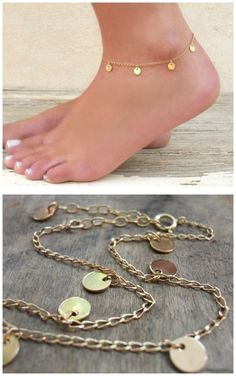 anklet jewelry Dainty gold or silver coin anklet. - Dainty gold or silver coin anklet. Perfect for layering with more anklets. Silver Ankle Bracelet, Gold Anklet, Silver Anklets, Anklet Jewelry, Anklet Bracelet, I Love Jewelry, Fine Jewelry, Gold Jewellery, Trendy Jewelry