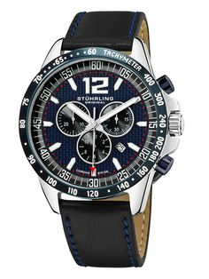 Stuhrling Men's Concorso Corale Blue Watch