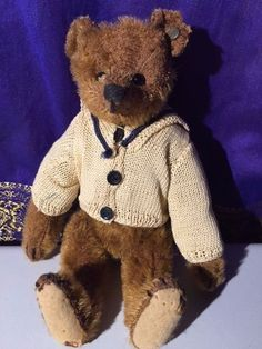 RARE BUTTON IN EAR 1906 STEIFF Antique Vintage German Teddy Bear 8 inch Jointed #Steiff