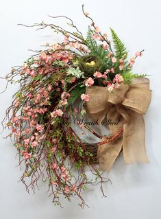 Pink Flower Spiral Wreath with Burlap Bow