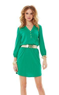 Lilly Pulitzer | Beckett Shirt Dress in fern green. Go KD! Go Bulls!