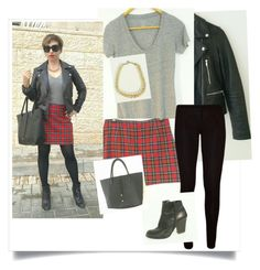 """""""plaid skirt outfit"""" by shirlygold on Polyvore"""