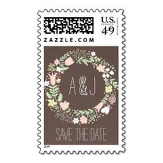 Whimsical Floral Wreath on Grey Monogram Postage Stamp - Wedding Save the Date stamp => http://www.zazzle.com/whimsical_floral_wreath_on_grey_monogram_postage-172081043793458831?CMPN=addthis&lang=en&rf=238590879371532555&tc=pinWideasWhimsicalfloralwreathstamp