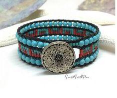 Southwestern Beaded Leather Cuff Bracelet Bracelet Turquoise