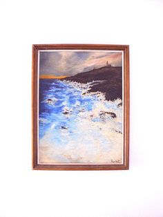 Original Vintage Oil Painting-Coastal by therecyclingethic on Etsy