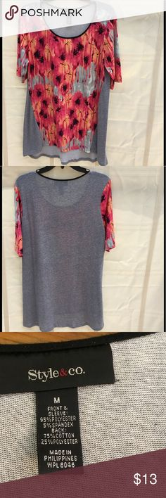 Hi-Lo Top, Medium, SEE PICS Style & Co Hi-Lo with Beautiful, colored front.  Goes great with Black leggings or skinny jeans! Style & Co Tops