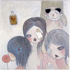 """aya takano, """"funny faces"""", 2010, acrylic on canvas"""