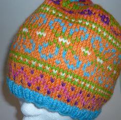 Multicolored Orange Knit Hat Wool Fair Isle Pattern