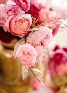 pink and gold floral centerpiece by @Juli Vaughn, www.julivaughn.com, Photography:  @Haley Sheffield, www.haleysheffield.com;