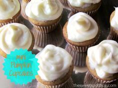 Mini Pumpkin Cupcakes with Cream Cheese Frosting by The Sweet Spot Blog http://thesweetspotblog.com/mini-pumpkin-cupcakes-with-cream-cheese-frosting