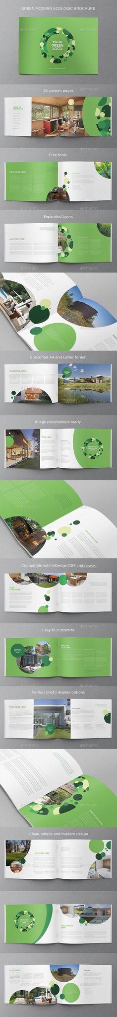 Green Modern Ecologic Brochure - Brochures Print Templates