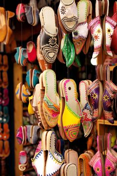 Fashion Me Now   Essaouira - 54 Indian Shoes, Indian Jewelry, Shoe Store Design, Moroccan Slippers, Fashion Me Now, Color Rush, Leather Slippers, Shoe Art, Palm Beach Sandals