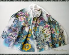 Hand Painted Silk Scarf Night Flowers Silk Satin Handpainted Blue Scarf Women gift for her Silk Painting Handmade Batik Mothers gift FS 9