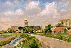 Noordwolde - Jan Altink 1943 Dutch pastel op papier 48 x cm Dutch Painters, Impressionist Art, Dutch Artists, Gouache, Pastels, Landscape Paintings, Netherlands, Country Roads, Fine Art