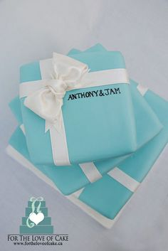 Beautiful Tiffany inspired wedding cake by For the Love of Cake Canada
