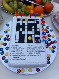 "Crossword puzzle birthday cake for gentleman who likes puzzles - made from 8 x 10"" vanilla sponge."