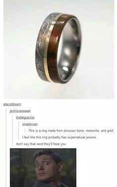 Dinosaur bone, meteorite, and gold ring