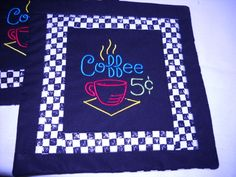 Quilt, Mug Rug,  Embroidered, Quilted, Black and White Check gifts under 10.00  by Fabricartist21. $9.50, via Etsy.