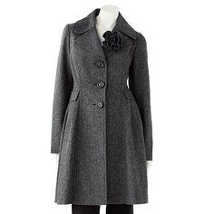 Tweed wool coat with flower