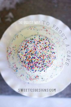 The easiest way to frost a cake...and super pretty too! Just melt store bought frosting in the microwave and pour over cake for a perfectly smooth finish.