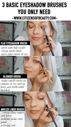 For flawless everyday eye makeup, there are really only 3 eyeshadow brushes you need. Check out my essentials for getting gorgeous eyes. Gorgeous Eyes, Gorgeous Makeup, Beautiful, Perfect Makeup, Eyeshadow Brush Set, Makeup Brush Set, Everyday Eye Makeup, Eyeliner, Eyes