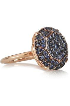 ileana makri rose gold and pave sapphire ring