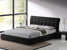 Boston Contemporary Black Faux Leather Bed Frame - 5ft Kingsize