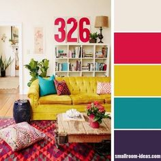 Bright multi-colored living room