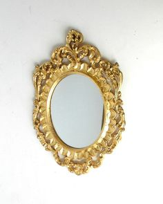 11 h mirror gold oval mirror italian mirror vintage mirror decorative mirror upcycle ornate mirror gold frame wall hanging mirror - Small Decorative Mirrors
