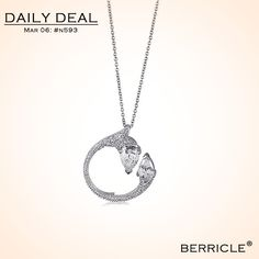 * Daily Deal * Today: $31.50 (Regular: $62.99)  50% OFF, March 6, 2014 only  STERLING SILVER DECORATED CIRCLE IN CUBIC ZIRCONIA CZ PENDANT NECKLACE  #berricle #jewelry