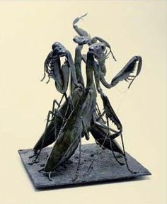 Patinated bronze with gold chain Insect Sculptures, to include Bees, Ants, Moths Butterflies etc sculpture by artist Anne Shingleton titled: 'The Three Fates (Three Outsize Praying Mantises sculptures/statues)'