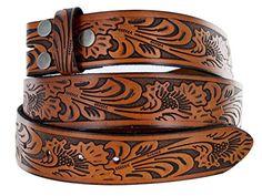 Western Embossed Tooled Brown Leather Belt